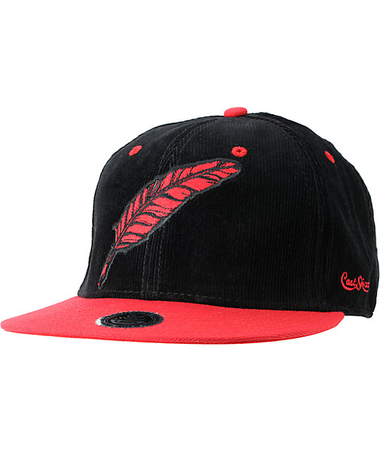 Cast Shadow Feather Black Corduroy Snapback Hat