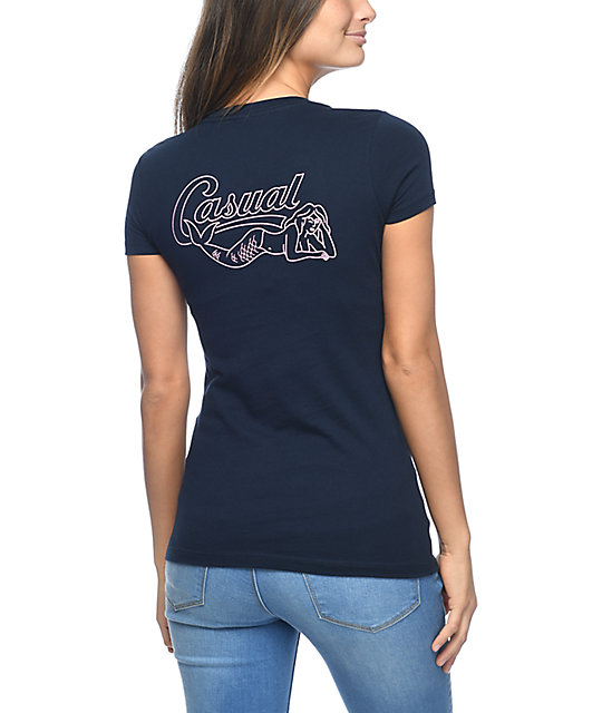 Casual Industrees Babes Under Waves Navy T-Shirt