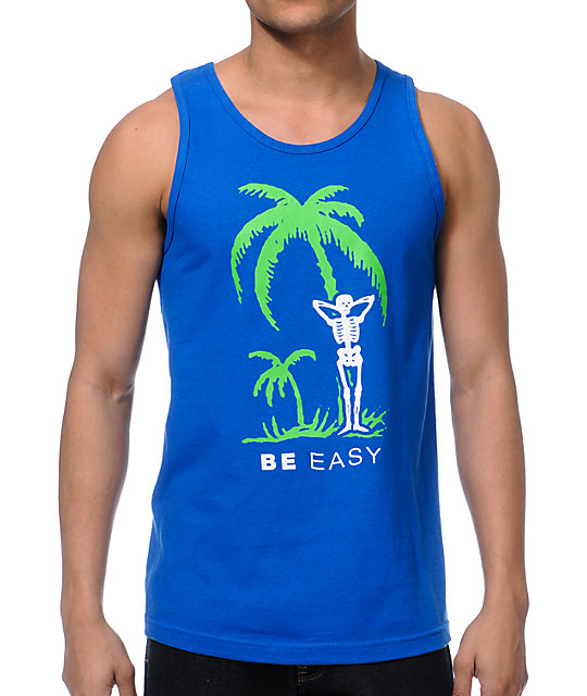 Casual Industrees Be Easy Blue Tank Top