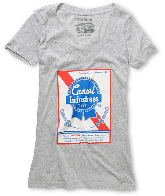 Casual Industrees Broke Ribbon Grey V-Neck Shirt