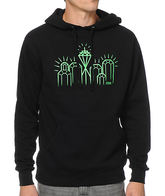 Casual Industrees Emerald City Black & Green Pullover Hoodie at ...