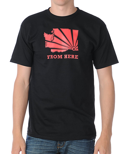 Casual Industrees From Here Black T-Shirt