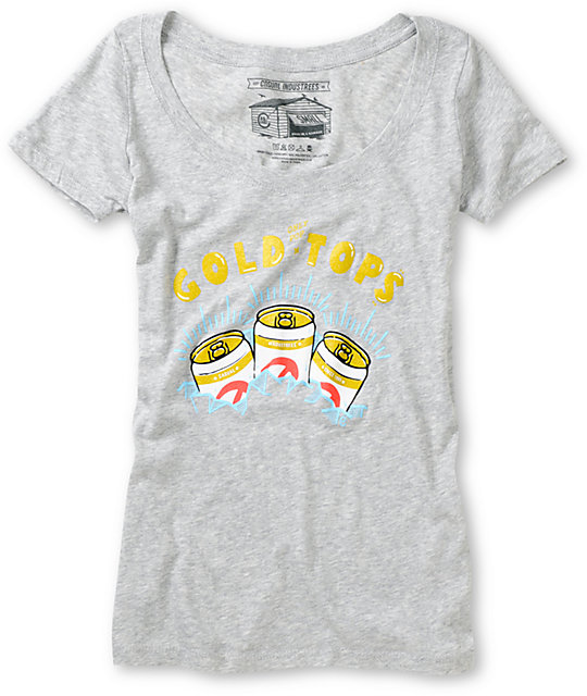 Casual Industrees Gold Tops Grey Scoop Neck T-Shirt