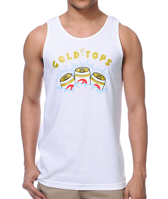 Casual Industrees Gold Tops White Tank Top