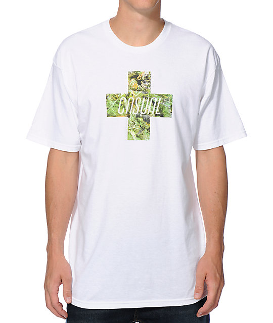 Casual Industrees Green Cross White T-Shirt