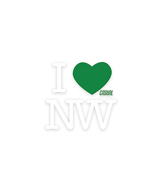 Casual Industrees I Heart NW Die Cut Sticker