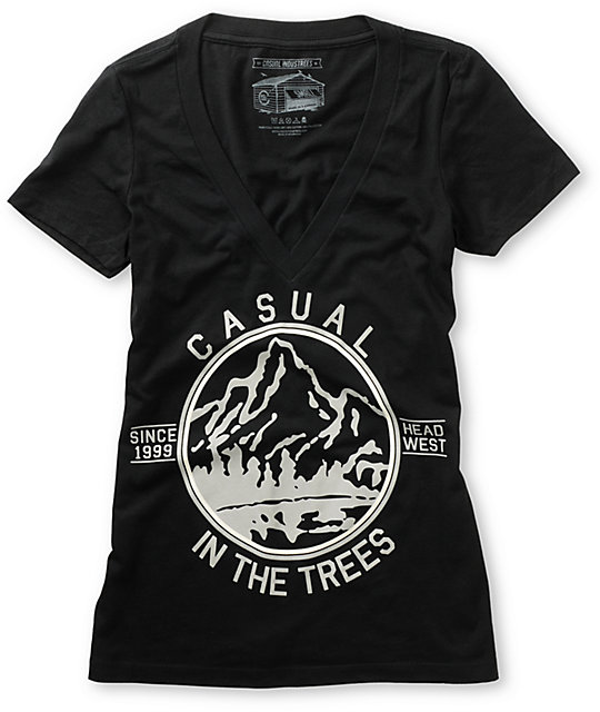 Casual Industrees In The Trees Black V-Neck T-Shirt