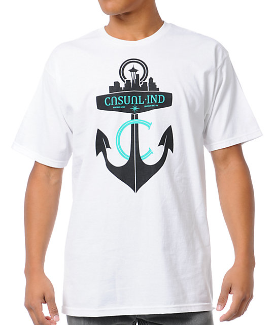 Casual Industrees Mens Anchor White T-Shirt
