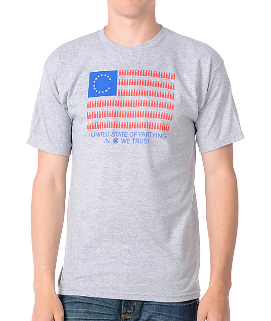Casual Industrees Party Flag Grey Mens T-Shirt