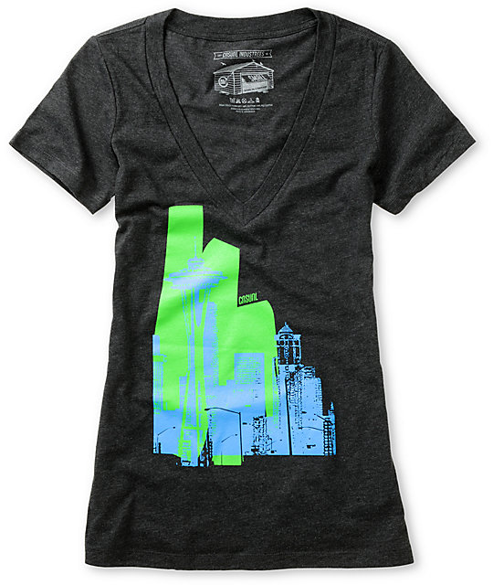 Casual Industrees Raw City Charcoal V-Neck T-Shirt