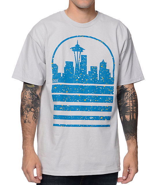 Casual Industrees Seattle Sky Grey & Blue Ice Speckle T-Shirt