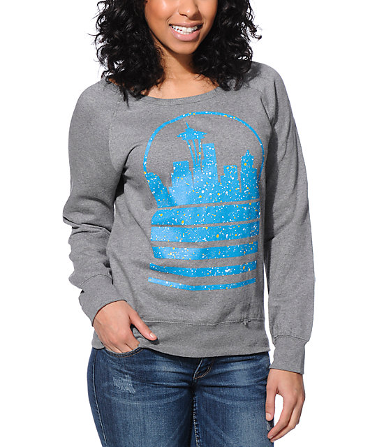 Casual Industrees Seattle Sky Speckle Grey Crew Neck Sweatshirt