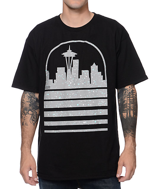 Casual Industrees Seattle Skyline Speckle Ice Black T-Shirt
