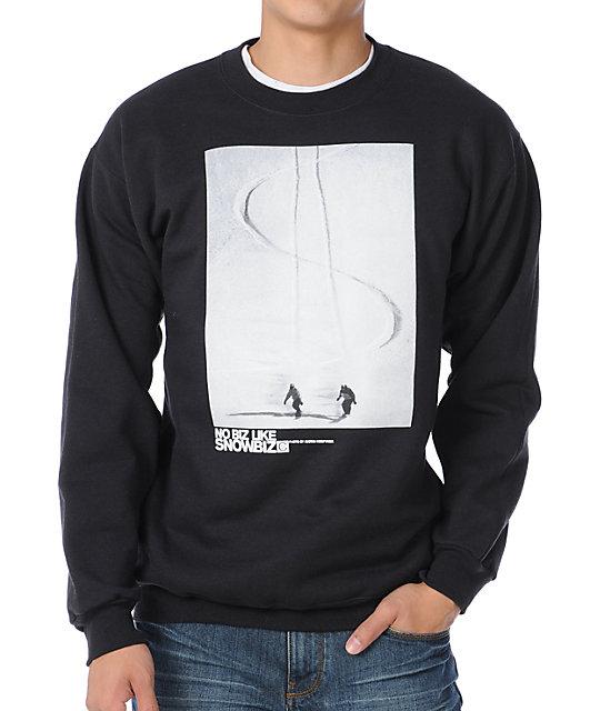 Casual Industrees Snow Biz Black Crew Neck Sweatshirt