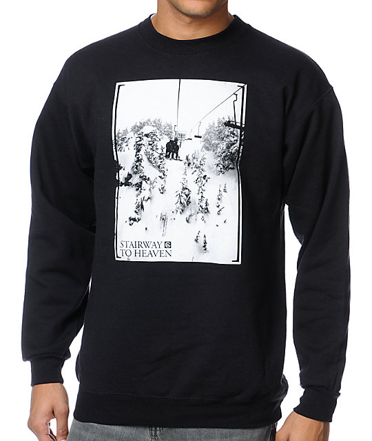 Casual Industrees Stairway To Heaven Black Crew Neck Sweatshirt