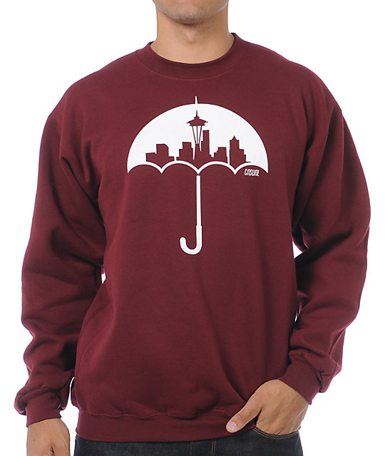 Casual Industrees Umbrella Maroon Crew Neck Sweatshirt