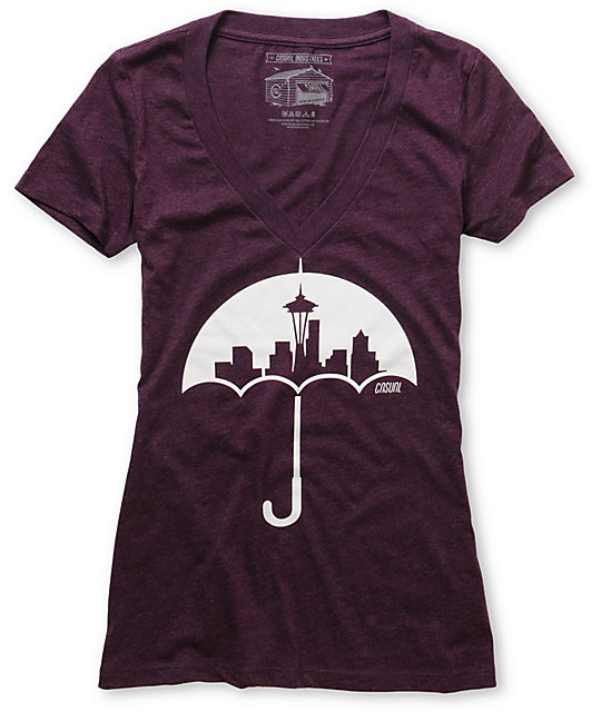 Casual Industrees Umbrella Purple V-Neck T-Shirt