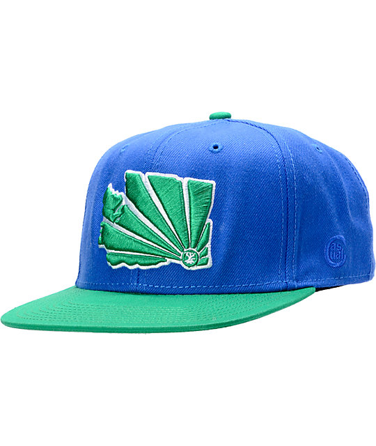 Casual Industrees WA Brah Green & Blue Snapback Hat