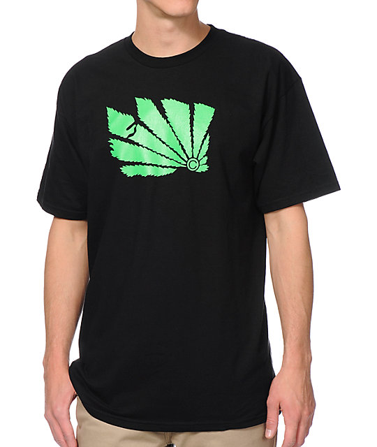 Casual Industrees WA Brah Green Leaf Black T-Shirt