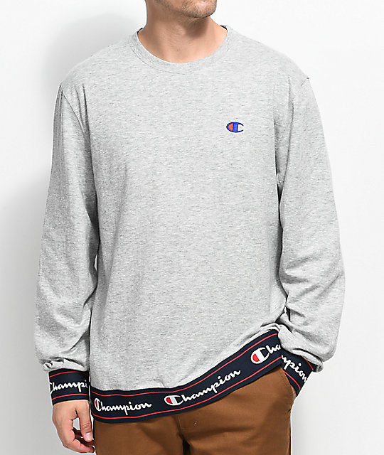 Bi Ply Heather Grey Long Sleeve Knit Crew Neck Sweatshirt