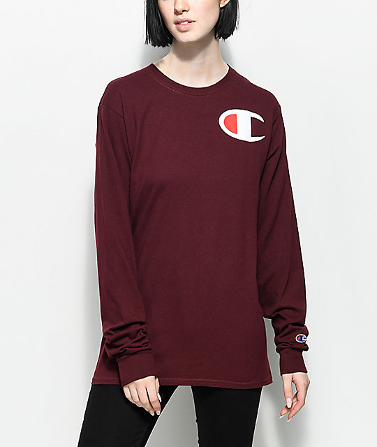 Big C Burgundy Long Sleeve T-Shirt
