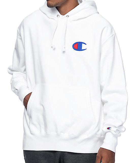 Champion Big C Logo White Pullover Hoodie | Zumiez