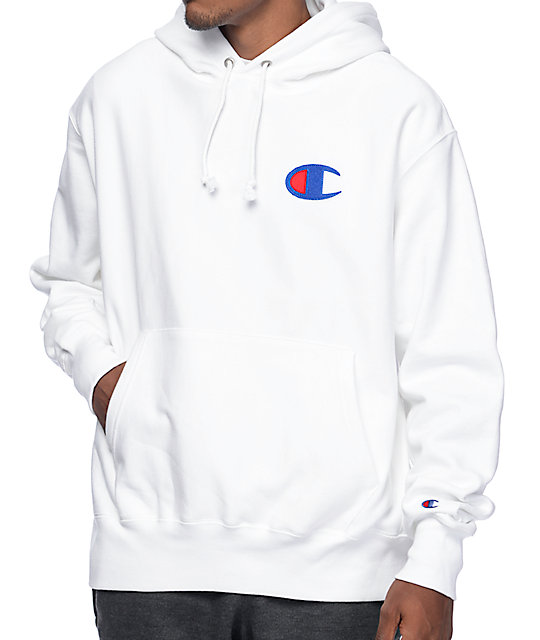 Champion Big C Logo White Pullover Hoodie at Zumiez : PDP