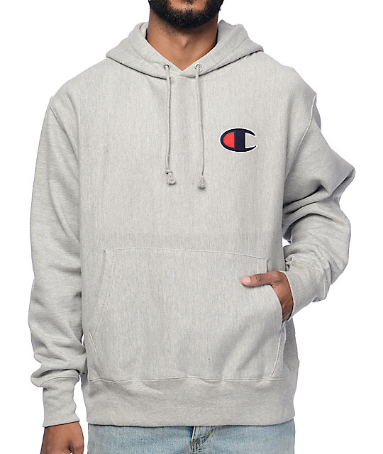 Big C Reverse Weave Heather Grey Hoodie