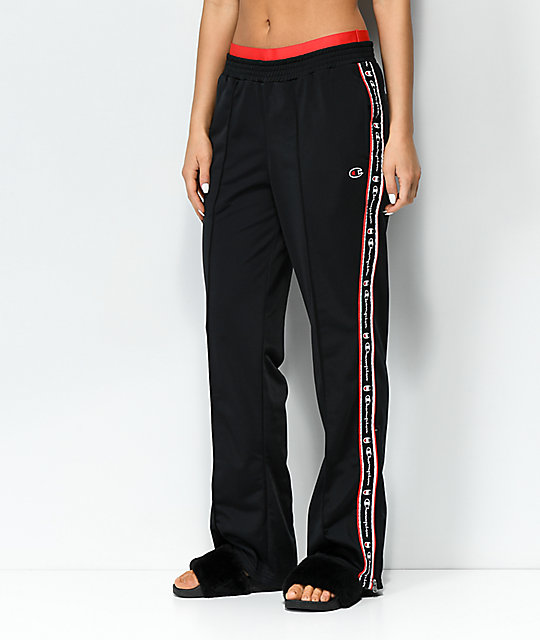 Champion Black & Red Taping Track Pants by Champion