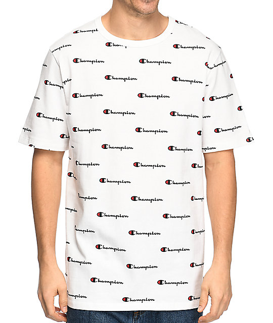 Champion Heritage All Over Script White T Shirt At Zumiez