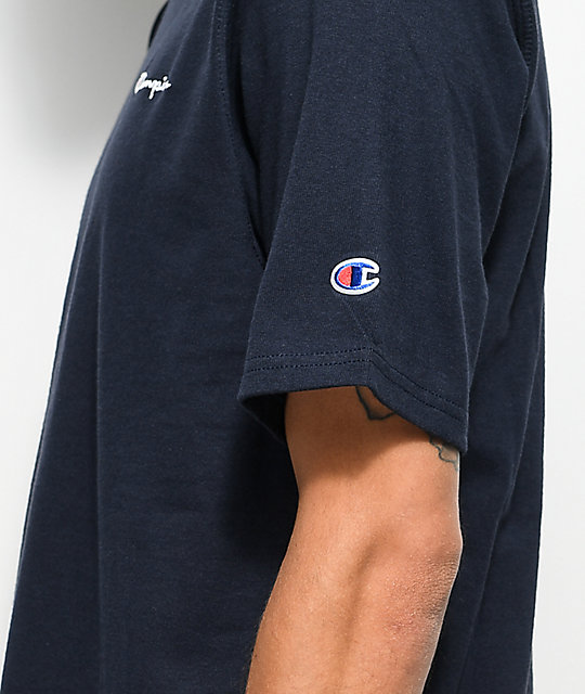 Champion Heritage Embroidered Script Navy T Shirt
