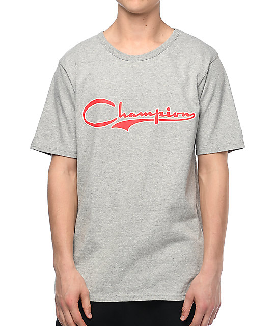 Champion Heritage Vintage Script Oxford Grey T Shirt