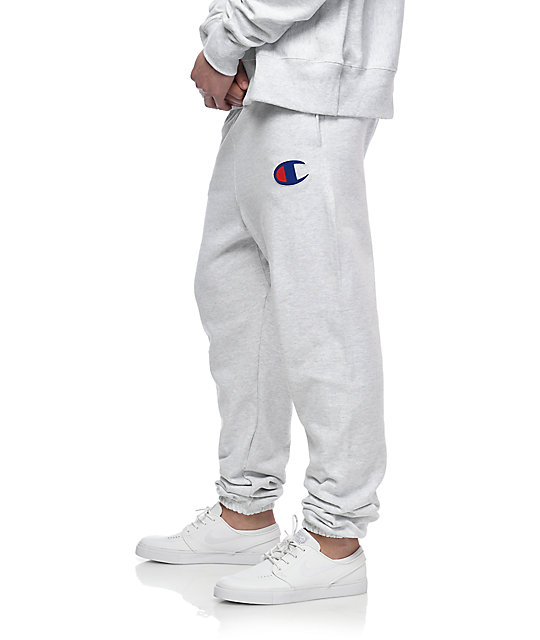 Champion Large C Reverse Weave Banded Bottom Silver & Grey Sweatpants