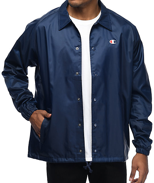 Champion navy coaches jacket zumiez for Coach jacket