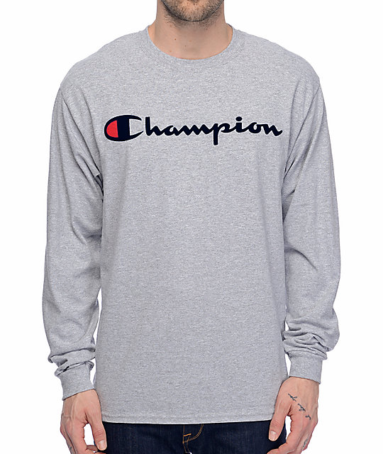 Patriotic Script Heather Grey Long Sleeve T-Shirt