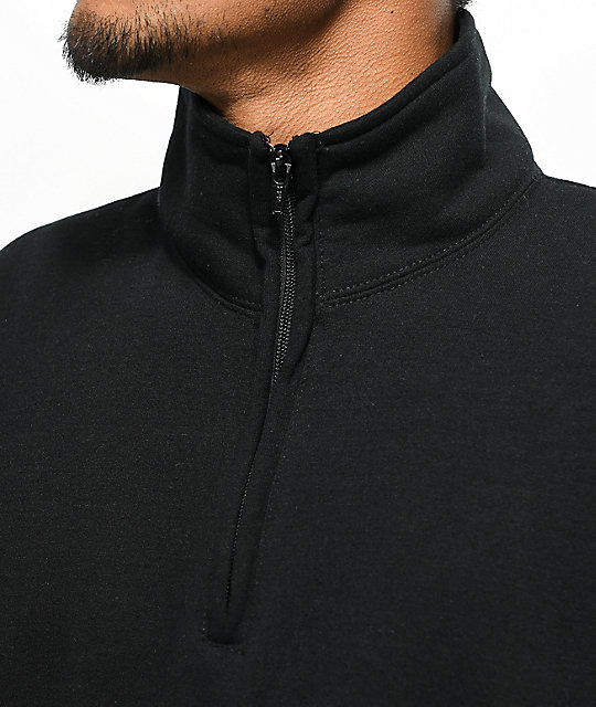 Champion Powerblend Quarter Zip Black Fleece Sweatshirt
