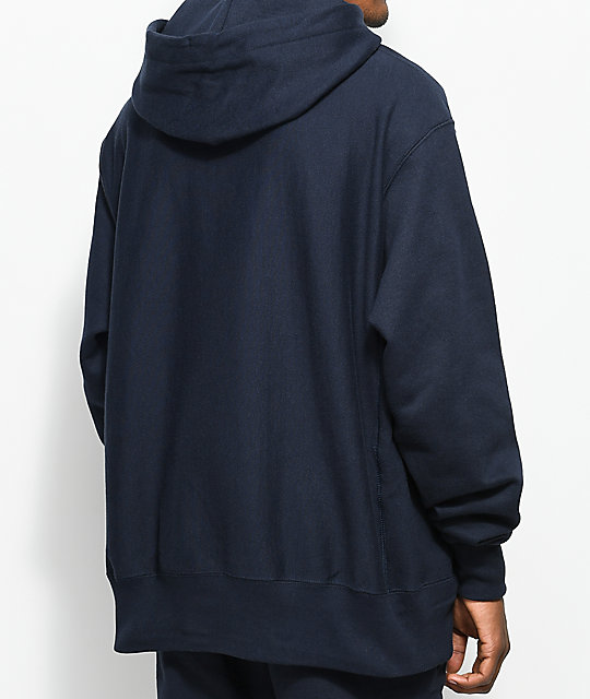 Champion Reverse Weave Big C Navy Hoodie