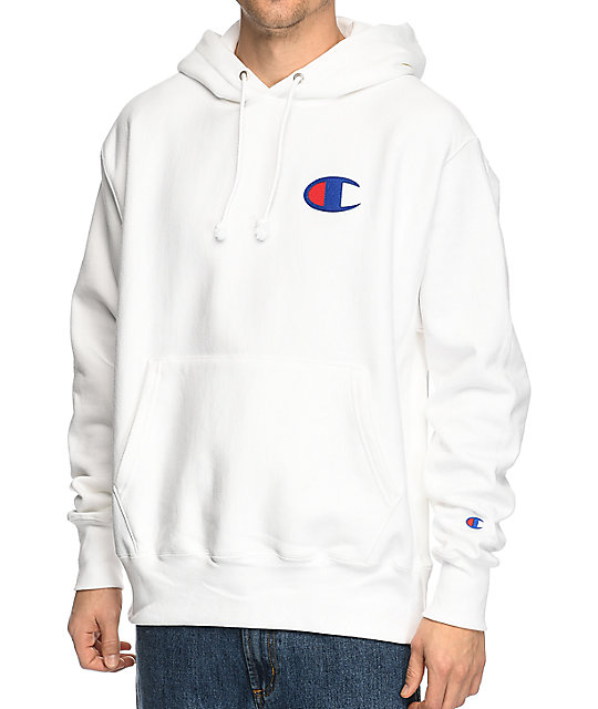 Champion Reverse Weave Big C White Hoodie at Zumiez : PDP