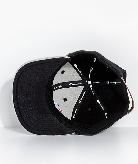 Champion Reverse Weave Black & Grey Strapback Hat