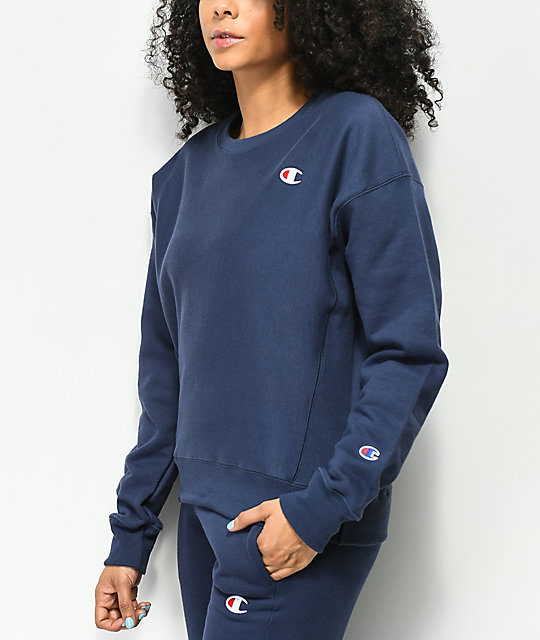 Champion Reverse Weave Imperial Indigo Crew Neck Sweatshirt by Champion