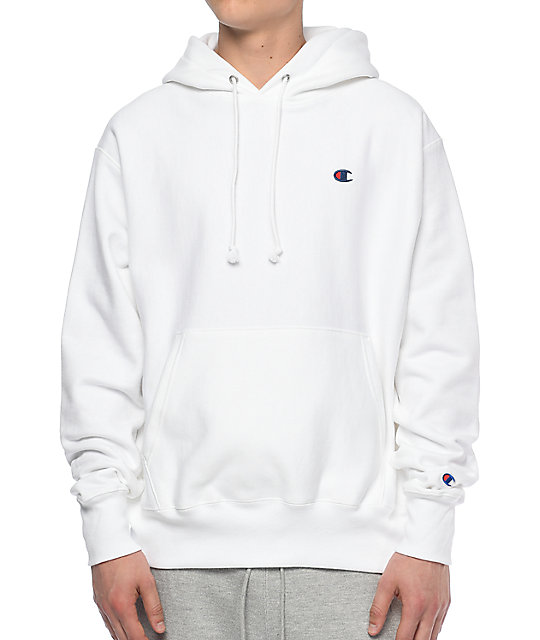 Reverse Weave Left Chest C White Hoodie