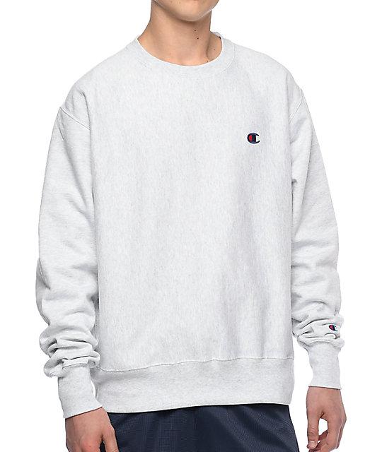 Reverse Weave Silver Crew Neck Sweatshirt