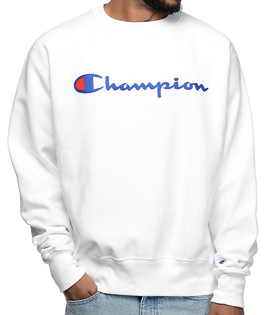 Champion Reverse Weave White Crew Neck Sweatshirt at Zumiez : PDP