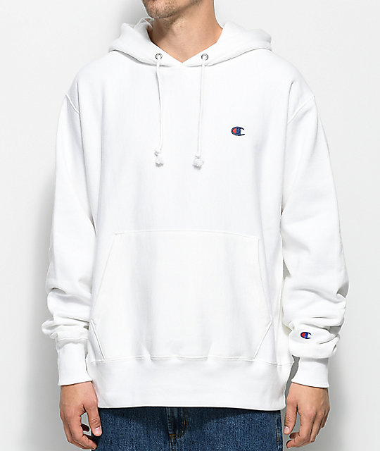 Reverse Weave White Pullover Hoodie