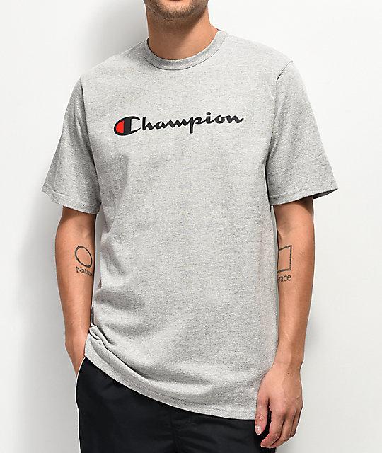 Champion Script Heather Grey T Shirt