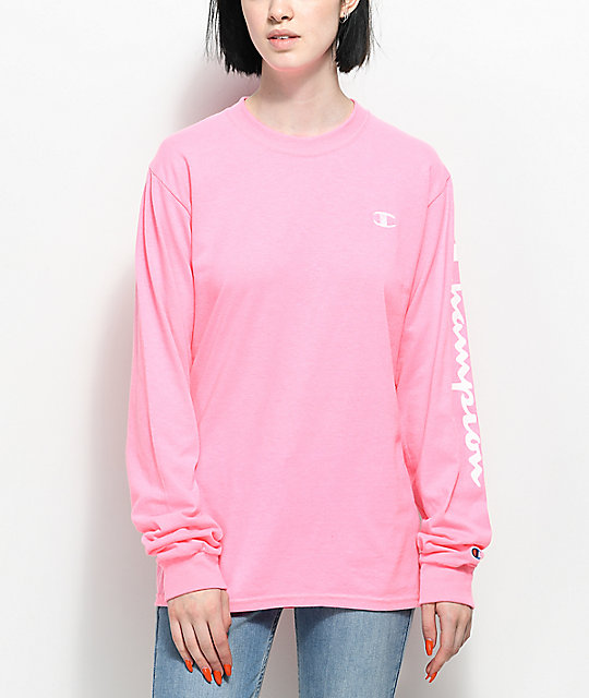 Champion Script Pink Long Sleeve T-Shirt | Zumiez