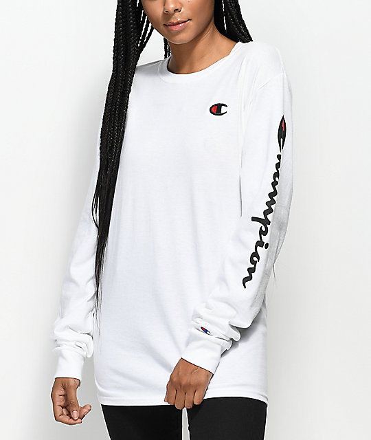 Champion Script White Long Sleeve T-Shirt | Zumiez