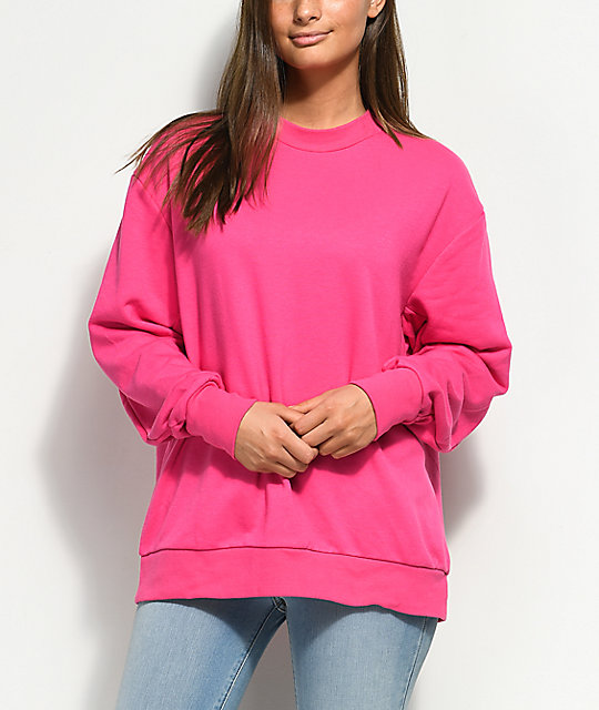 Cheap Monday Arched Logo Neon Pink Crew Neck Sweatshirt
