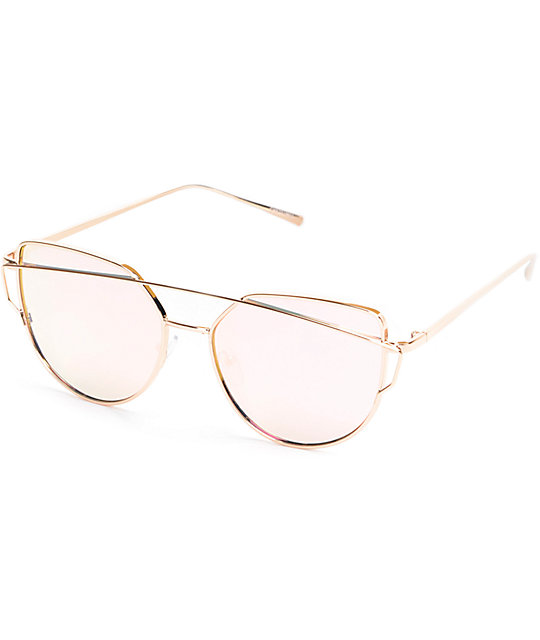 Chester Rose Gold Revo Metal Sunglasses