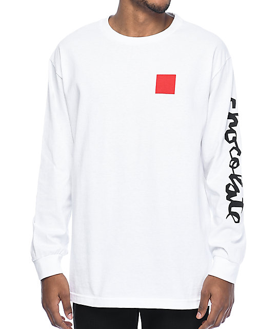 Chocolate Chunk & Square White Long Sleeve T-Shirt